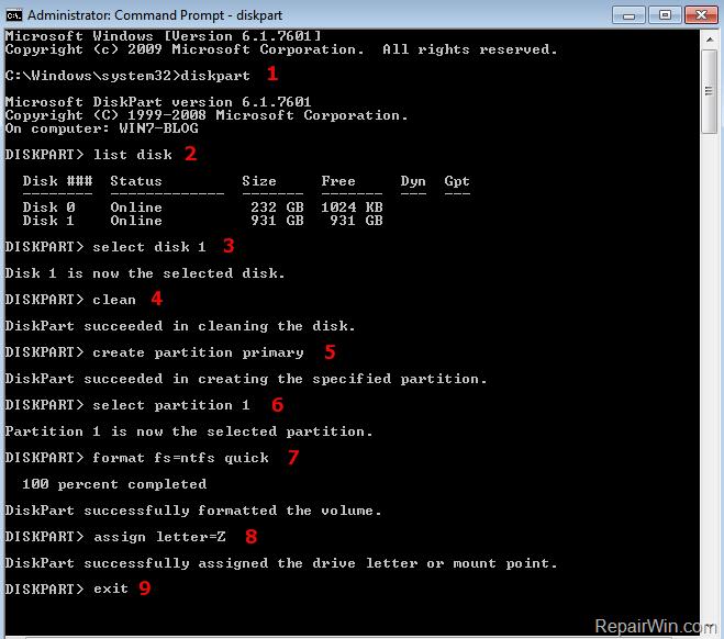 diskpart format